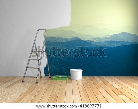 Repairs in room with painting of mountains on wall. 3D illustration. - stock photo