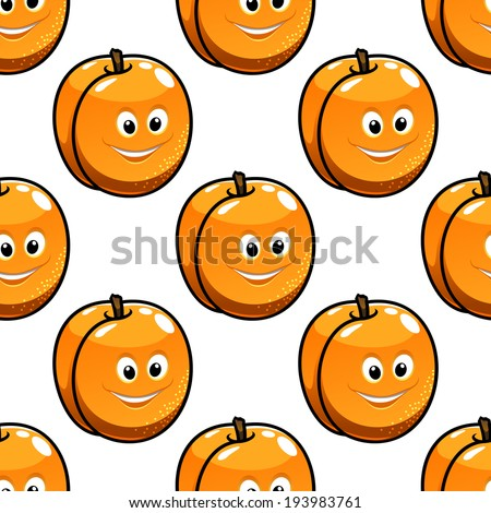 Repeat seamless pattern of golden apples with happy healthy smiling faces suitable for textile, wallpaper or print. Vector version also available in gallery - stock photo