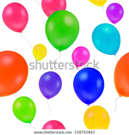 repeated  backdrop of many multicoloured fly balloon, on white background, isolated