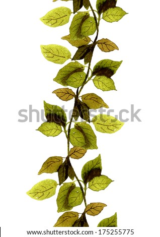 Repeated seamless floral border stripe with green leaves - stock photo