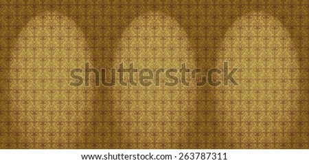 Repeating Damask Floral Wallpaper Pattern in Yellow and Brown with Spotlights - stock photo