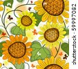 Repeating floral white summer pattern with sunflowers and butterflies - stock photo