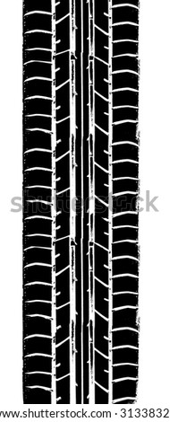 Repeating tyre track - stock photo