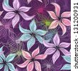 Repeating violet floral pattern with vivid and transparent flowers - stock photo