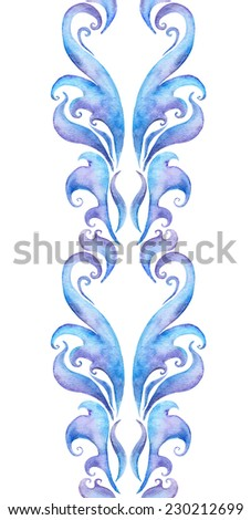 Repeating winter border frame. Water color decorative ornamental strip with scrolls and curves  - stock photo