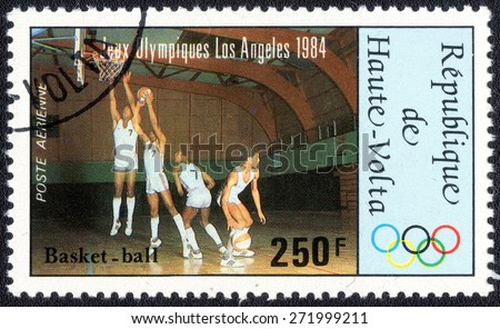 "Repeblica de Haute-Volta - CIRCA 1984: A stamp printed in Repeblica de Haute-Volta shows a series of images "" Olympic Games in Los Angeles in 1984"", circa 1984.  - stock photo"