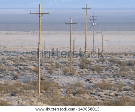 Repetitive Telephone poles - stock photo