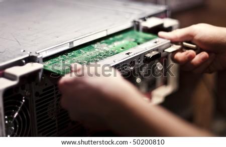 replacing server card - stock photo