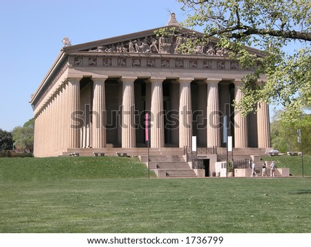 Replica in Nashville, TN's Centennial Park of the ancient Parthenon of Athens, Greece - stock photo