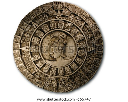 Replica Mayan Calendar on white.  - stock photo