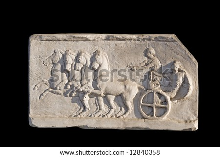 Replica of a Greek ancient wall plaque showing a charioteer