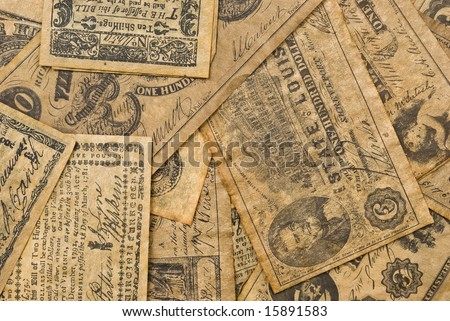 Replica of Currency used in Colonial and Early American History.  Great as a background.