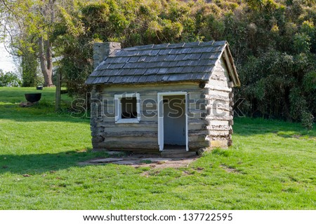 Replica of log cabin in Waveland State Historic Site. Lexington, Kentucky, USA - stock photo