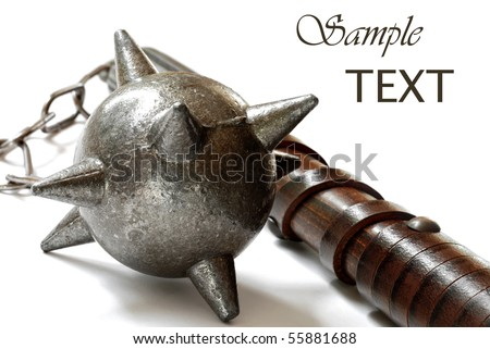 Replica of medieval flail on white background with copy space.  Macro with shallow dof. - stock photo