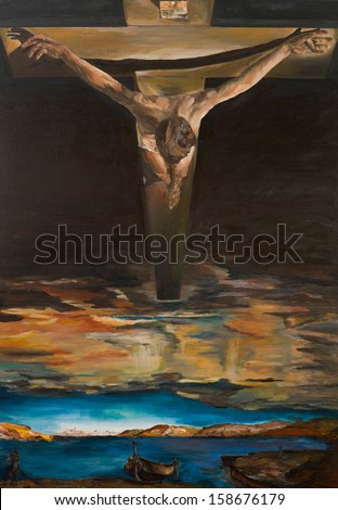replica of one of Salvador Dali's painting, Christ of Saint John of the Cross, oil painting - stock photo