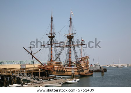 Replica of the Mayflower in Plymouth, Massachusetts - stock photo