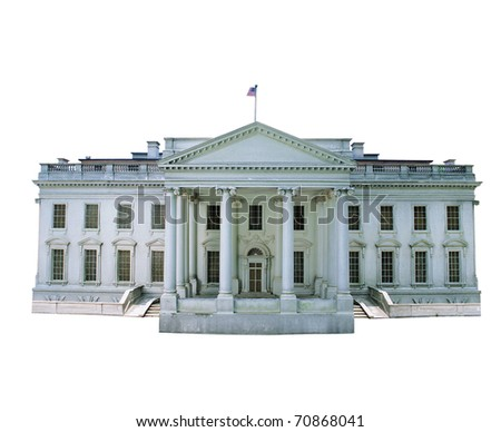 Replica of the White House isolated on white background - stock photo