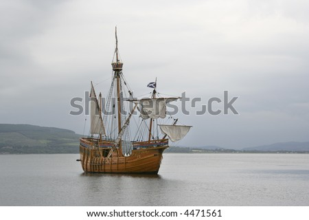 Replica sailing ship at Rothesay, Bute - stock photo
