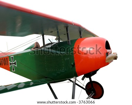 Replica Vintage Aircraft with Clipping Path - stock photo