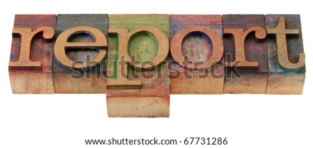 report word in vintage wooden letterpress printing blocks, stained by color inks, isolated on white