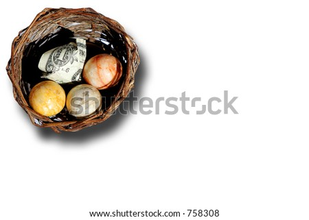 "Representation of a financial ""nest egg"" isolated over white."