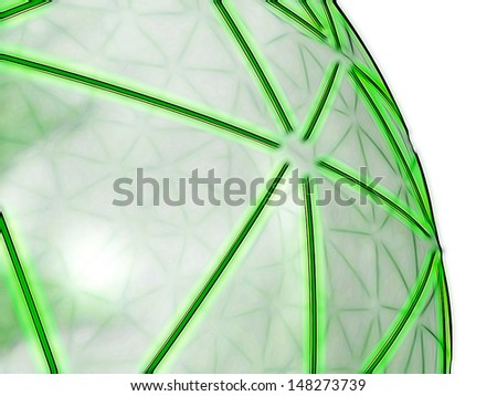 representation of a spheric network, composed of shiny green segments on a semi-transparent grey surface, referring to concepts such as high-technology, logistics, networking and telecommunications - stock photo