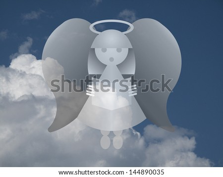 Representation of an angel against a cloudy blue sky - stock photo