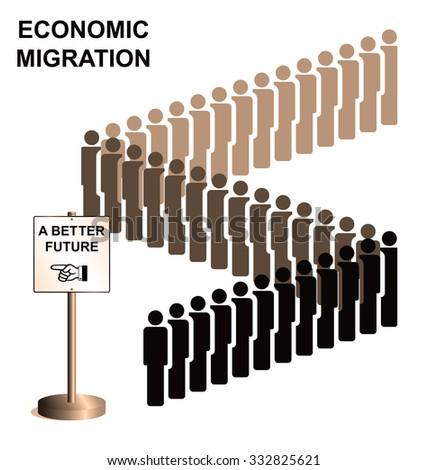 Representation of economic migrants queuing for a better future  - stock photo