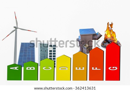Representation of energy efficiency certification system, energy classes. Background motifs of various energy and heat generator. - stock photo