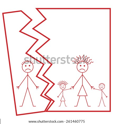 Representation of family marriage break up or family divorce isolated on white background with copy space for own text - stock photo