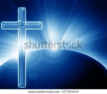 representation of heaven: cross and solar eclipse - stock photo