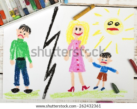 Representation of marriage break up or divorce - colorful drawing - stock photo