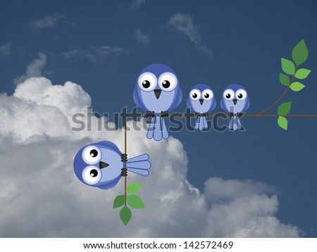 Representation of relationship break up or divorce against a cloudy blue sky