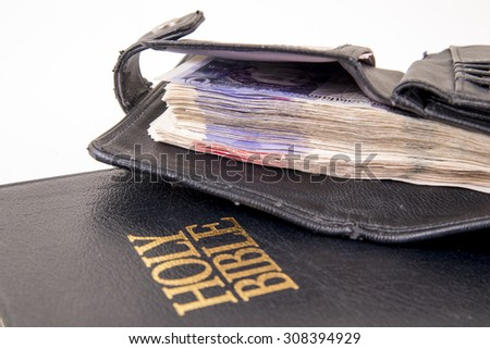 Representation of the Christian offering. Giving money to the church. Providing for the brothers in Christ. Supplying for the brethren in need - stock photo