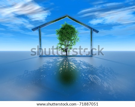 representation of the concept of ecological and economic home - stock photo