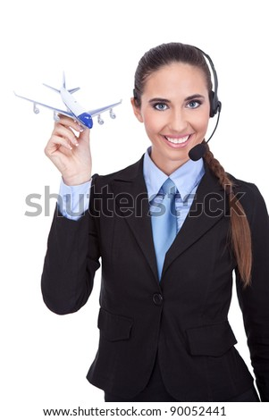 representative phone operator  holding plane, information about flying