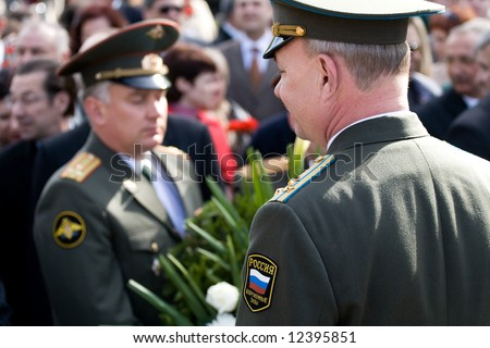 Representatives of the Embassies of Russian Federation participating in flower laying ceremony. Celebration of May 9 Victory Day (Eastern Europe) in Riga at Victory Memorial to Soviet Army.