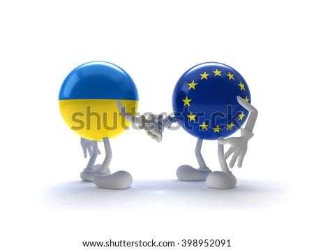 Representatives of the EU and Ukraine shake hands - stock photo