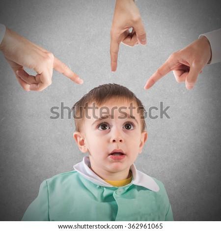 Reprimanded child - stock photo