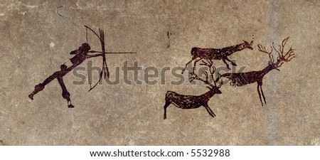 Reproduction of a prehistoric cave painting showing a hunter and deers - stock photo