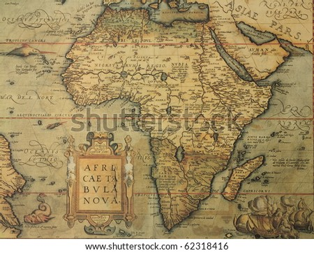 Reproduction of 16th century map of Africa engraved and colored by the famous dutch cartographer Abraham Ortelius - stock photo