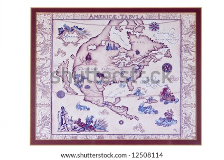 Reproduction of very old North American map. Framed for wall hanging - stock photo
