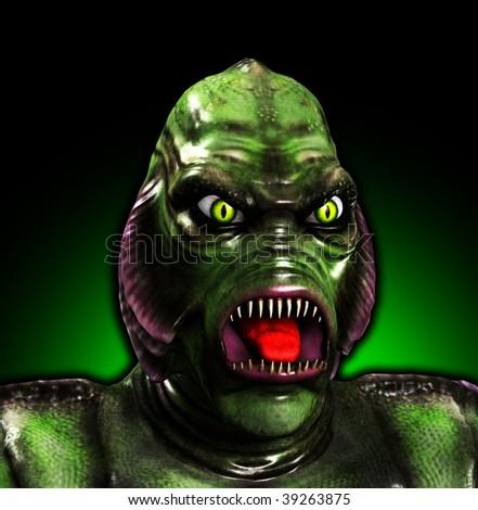 reptilian gill monster for Halloween. - stock photo