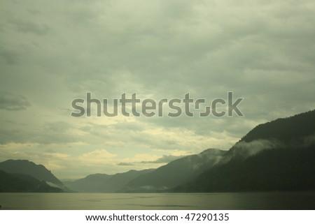 Republic Altai. Lake Teletskoe. Picturesque landscape - stock photo