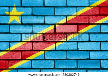 Republic Congo flag painted on old brick wall texture background - stock photo