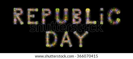 Republic Day text written with colorful sparkling fireworks over black background - stock photo