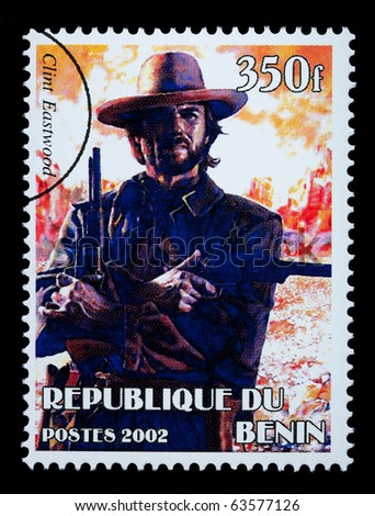 REPUBLIC OF BENIN - CIRCA 2002: A postage stamp printed in the Republic of Benin showing Clint Eastwood, circa 2002 - stock photo