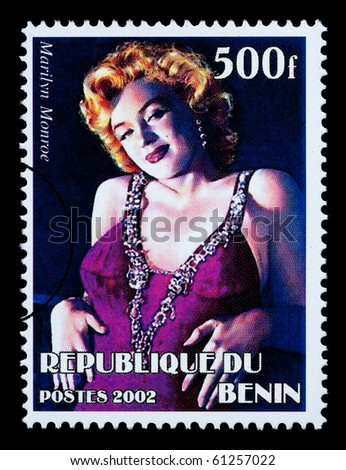 REPUBLIC OF BENIN - CIRCA 2002: A postage stamp printed in the Republic of Benin showing Marilyn Monroe, circa 2002 - stock photo