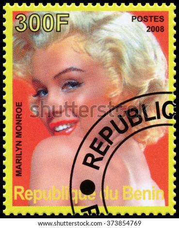 REPUBLIC OF BENIN - CIRCA 2008: a stamp printed in Republic of Benin shows Marilyn Monroe - stock photo