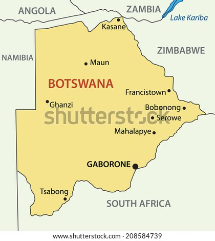 Republic of Botswana - map - stock photo